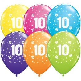 "11"" 10 Stars Tropical Assorted Latex Balloons 25pk"