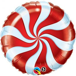 "9"" Candy Swirl Red Air Filled Foil Balloons"