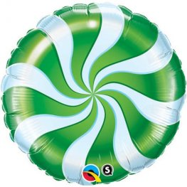"9"" Candy Swirl Green Air Filled Foil Balloons"