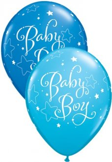 "11"" Baby Boy Stars Latex Balloons 25pk"
