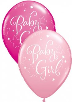 "11"" Baby Girl Stars Latex Balloons 25pk"