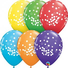 "11"" Confetti Dots Assorted Latex Balloons 25pk"