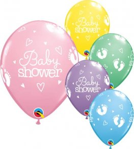 "11"" Baby Shower Footprints And Hearts Latex Balloons 25pk"
