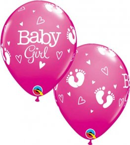 "11"" Baby Girl Footprints And Hearts Latex Balloons 25pk"