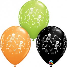 "11"" Fun Halloween Skeletons Latex Balloons 25pk"