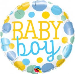 "18"" Baby Boy Dots Foil Balloons"