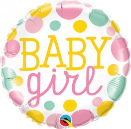 "18"" Baby Girl Dots Foil Balloons"