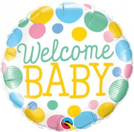 "18"" Welcome Baby Dots Foil Balloons"