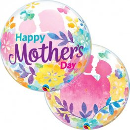 "22"" Mothers Day Silhouette Single Bubble Balloons"