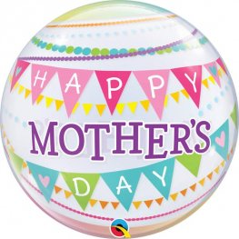 "22"" Mothers Day Pennants Single Bubble Balloons"