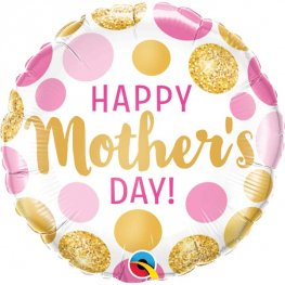 "18"" Happy Mothers Day Pink & Gold Dots Foil Balloons"