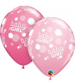 "11"" Baby Girl Pink Dots Latex Balloons 25pk"