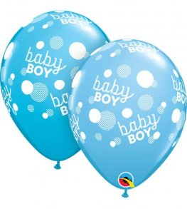 "11"" Baby Boy Blue Dots Latex Balloons 25pk"