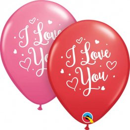 "11"" I Love You Hearts Script Latex Balloons 25pk"