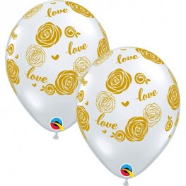 "11"" Love Rose Diamond Clear Latex Balloons 25pk"