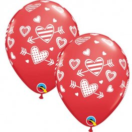 "11"" Red Hearts And Arrows Latex Balloons 25pk"