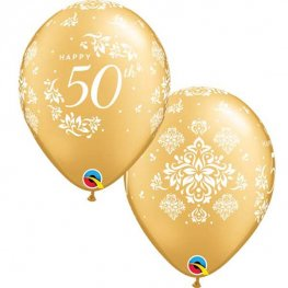 "11"" 50th Anniversary Damask Latex Balloons 6pk"
