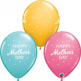 "11"" Mothers Day Petite Polka Dots Latex Balloons 25pk"