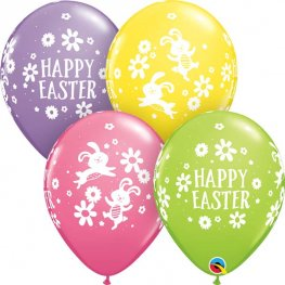 "11"" Easter Bunnie And Daisies Latex Balloons 25pk"