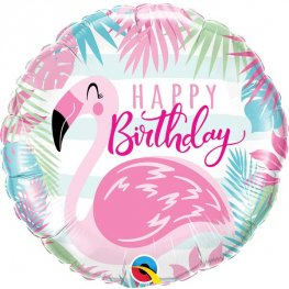 "18"" Happy Birthday Pink Flamingo Balloons"