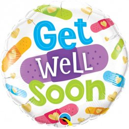 "18"" Get Well Soon Bandages Foil Balloons"
