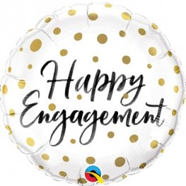 "18"" Happy Engagement Gold Dots Foil Balloons"
