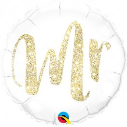 "18"" Mr Gold Glitter Foil Balloons"