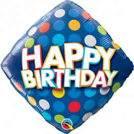 "18"" Happy Birthday Blue & Colourful Dots Foil Balloons"