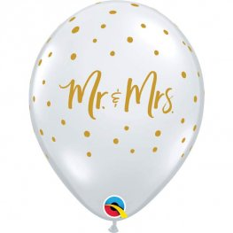 "11"" Mr And Mrs Gold Dots Latex Balloons 25pk"