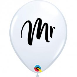 "11"" Mr White Latex Balloons 25pk"
