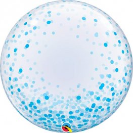 "24"" Blue Confetti Dots Deco Bubble Balloons"