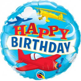 "18"" Happy Birthday Airplanes Foil Balloons"