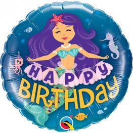 "18"" Happy Birthday Mermaid Foil Balloons"