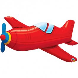 Red Vintage Airplane Supershape Balloons