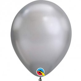 "11"" Chrome Silver Latex Balloons 25pk"