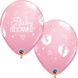 "11"" Pink Baby Shower Footprints & Hearts Latex Balloons 25pk"