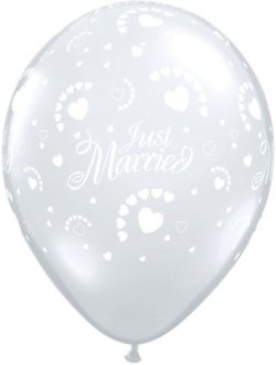 "11"" Just Married Diamond Clear Hearts Latex Balloons 50pk"