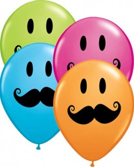 "11"" Smile Face Moustache Latex Balloons 50pk"
