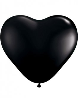 "6"" Black Heart Latex Balloons 100pk"