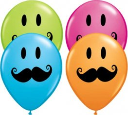 "5"" Smile Face Moustache Latex Balloons 100pk"