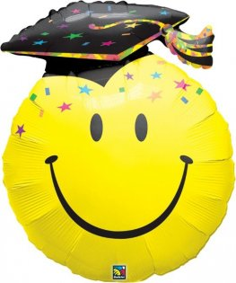 Smiley Face Party Grad Supershape Balloons