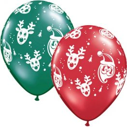 "11"" Santa And Rudolph Latex Balloons 25pk"