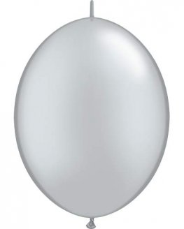 "12"" Silver Quick Link Latex Balloons 50pk"
