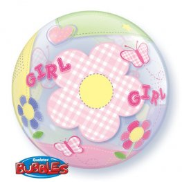 "22"" Baby Girl Butterflies Single Bubble Balloons"