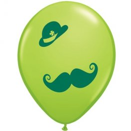 "11"" St Patricks Derby And Moustache Latex Balloons 50pk"