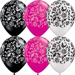 "11"" Assorted Damask Print Latex Balloons 50pk"
