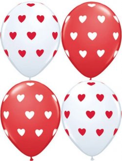 "11"" Red And White Big Hearts 50pk"