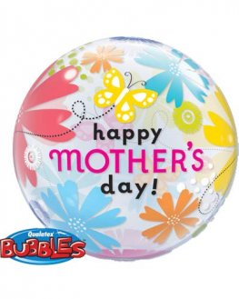 "22"" Mothers Day Butterfly Floral Single Bubble Balloons"