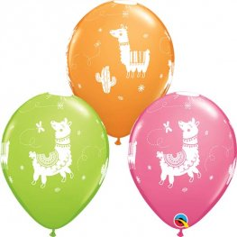 "11"" Llamas Assorted Latex Balloons 25pk"