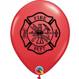 "11"" Red Fire Dept Latex Balloons 25pk"